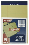 Top Flight Legal Pads, 13cm x 20cm , 1cm Rule, Canary, 50 Sheets per Pad, 5 Pads per Pack