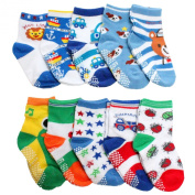 Baby Boys NON SKID Socks Multicoloured One Size Age 1 2 3 Years old Set C