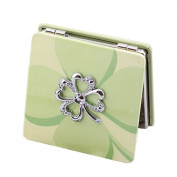 2X Magnification Travel Pocket Beauty Makeup Mirror Compact Mirror,A Clover