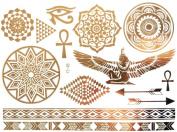 Gold Silver Metallic Temporary Tattoos, Flash Tattoo, Oriental body jewellery, Egyptian ornaments - YS-48