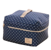 Bigood Blue Polka Dot Canvas Cosmetic Bag Sundry Bags