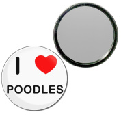 I Love Poodles - 77mm Round Compact Mirror