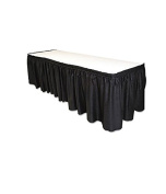Tablemate TBLLS2914BK Disposable Linen-Like Table Skirt, Self-Adhesive, 70cm x 4.3m, Black
