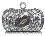 Ladies Fashion Sequin Peacock Feather Design Clutch Box Bag Women's Quality Elegant Evening Party Bag CWE00298