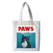 Yngve the Cat PAWS Tote Bag, 100% Cotton, White