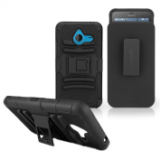 BoxWave Dual+ Max Holster Nokia Lumia 640 XL Case - Rugged Hard Shell Case with Kickstand and Belt Clip Holster Combo, Fully Enclosed with Protective Film for 360 Degree Protection - Nokia Lumia 640 XL Cases and Covers