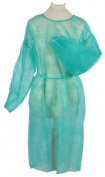 Tiga-Med Pack of 100 Green Professional Quality Disposable Protective Fleece Gowns for Hospital Visitors Unisize, approximately 120cm x 140cm