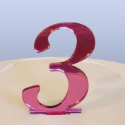 Number 3 Cake Topper Pink Acrylic Mirror