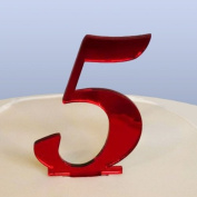 Number 5 Cake Topper Red Acrylic Mirror