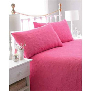 Pink and Green Reversible Embossed Quilted Bedspread, Leaf, Includes 2 Pillowshams, 240cm x 260cm, Double/King