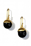 ARENA Copenhagen - Nanet Onyx Earrings Gold - Plated 18 Carats