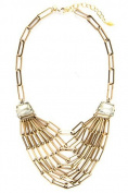 David Aubrey Links Necklace Crystal Stones in Champagne FNA319 Length 50-60 CM Gold-Plated