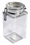 1570ml Plastic Square Asirtight Clip Top Vintage Spice Chutney Storage Jar Pot by Chabrias Ltd