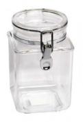 1240ml Plastic Square Asirtight Clip Top Vintage Spice Chutney Storage Jar Pot by Chabrias Ltd