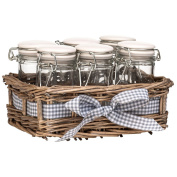 COUNTRY COTTAGE - Set of 6 Spice Jars in Willow Basket - Brown / White / Blue