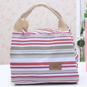 Thermal Insulated Portable Cool Canvas Stripe Lunch Picnic Totes Carry Case Bag