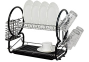 Neotechs® Black Deluxe 2 Tier Chrome Plate Dish Cup Cutlery Drainer Rack Drip Tray Plates Holder