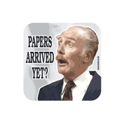 """PAPERS ARRIVED YET."" Major FAWLTY TOWERS Coaster - TV / Television Themed Design"