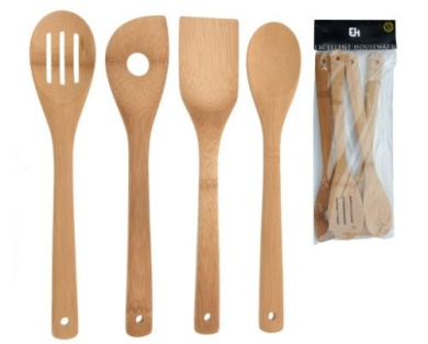 Pack of 4 Wooden Kitchen Utensils Spoons Spatula Fork Baking Cooking Accessories