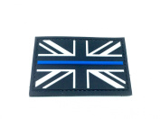 Black Union Jack Thin Blue Line Flag Airsoft hook and loop PVC Patch
