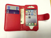 Outstanding Value Apple iPhone 4 4S Red Wallet with Two Card Slots PU Leather Case Cover For Apple iPhone 4 4S