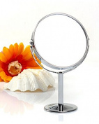 SAMGU Round Swivel Table Mirror Free Standing Bathroom Shaving & Double-sided Makeup Mirror