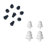 Thetransporter - 12 X Mixed Black & White Triple Flange Style Noise Isolating Replacement Silicone Earbuds Tips Gels S - L Size