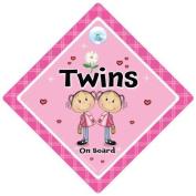 Twins On Board, Pink Flower, Twins on board sign,Twins on board Car Sign, Pink Flower, Baby on Board, Car Sign, Bumper Sticker Style, Baby on board, Twin girls
