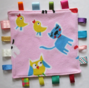 Baby taggie security blanket, taggy baby comforter -Pink farm