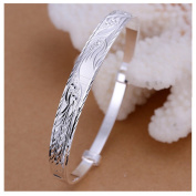 New Fashion Jewellery Classic Lady Women 925 Solid Silver Phenix Carved Bangle Bracelet Jewellery