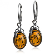 Amber Sterling Silver Classic Small Grape Leaves Leverback Earrings