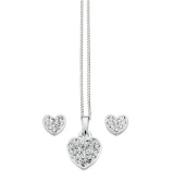 Elements Sterling Silver Ladies Small Heart Fantasy Pendant and Earring Set of Length 41-46cm