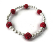 SPARKLY SHAMBALLA RED CRYSTAL STRETCHY ANKLET - MADE FROM 6 CZECH CRYSTAL BEADS - FREE P & P