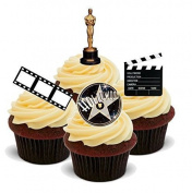 NOVELTY HOLLYWOOD STYLE MIX Lights Camera Action! - Standups 12 Edible Standup Premium Wafer Cake Toppers - 2 x A5 sheet - 12 images