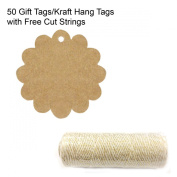Wrapables 50 Flower Gift Tags/Kraft Hang Tags with Free Cut Strings for Gifts, Crafts & Price Tags + Cotton Baker's Twine 4ply 110 Yard, Metallic Gold
