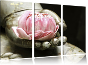 Lotus on the hand of a Buddha 3-piece Canvas Art 120x80 cm image on canvas, XXL huge Pictures completely framed with stretcher, Art print on wall picture with frame, cheaper than oil paintings and picture, no poster or poster