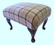 Queen Anne Style Footstool In a Quality Fawn Tartan Fabric