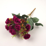 15 Head Bunch of Small Artificial Silk Roses with Leaves and Foliage