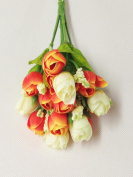 ORANGE MIX Colour Small Rosebuds Bouquet of Roses Artificial Flowers Home Wall Party Decor Wedding Decal