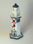 Nautical/Seaside Theme Blue/White Wooden Lighthouse