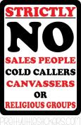 Small 4cm x 5.5cm NO SALESMAN COLD CALLERS CANVASSERS LABEL DOOR WINDOW STICKER SIGN SALESMEN Small 4cm x 5.5cm