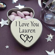 I Love You Lauren Mini Heart Tin Gift For I Heart Lauren With Chocolates. Silver Heart Tin. Fits Beautifully in the Palm of Your Hand. Great as a Birthday Present or Just as a Special Gift to Show Somebody How Much You Love Them.