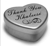Perfect Way to Say Thank You Khaleesi With A Mini Heart Tin Gift Present with Chocolates . Makes a beaufiful Gift or Present to show your Thanks, Fits Beautifully in the palm of your hand. Tin Measurements 45mmx45mmx20mm