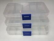 Ardisle 3 x 10 COMPARTMENT SMALL ORGANISER STORAGE PLASTIC BOX CRAFT LOOM NAIL ART BEADS