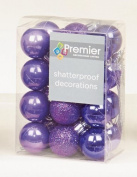 24 x Purple shatterproof Christmas tree Baubles Decorations Mixed finishes