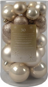 30 Luxury Shatterproof Christmas Baubles Decoration - Pearl Gold