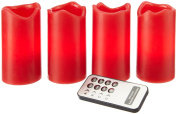 Star 067-12 10 x 16 cm Flickering/ Steady Light 4-Piece Solely Controllable LED Wax Candles with Remote Control includes Batteries, Red