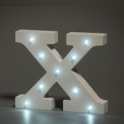Up in Lights Decorative LED Alphabet White Wooden Letters - Letter X