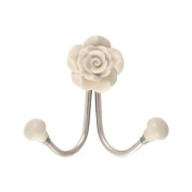 Vintage Rose Double Ceramic Hook Cream