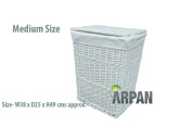 Arpan Medium White White Wicker Laundry/Linen Basket With Lining & Washing Cloth Basket